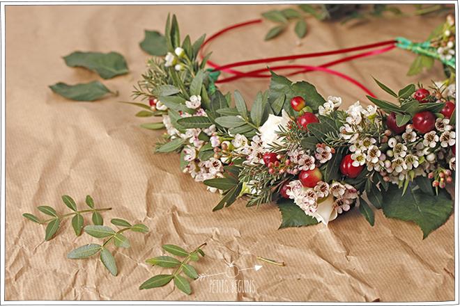 Couronne de Noël - Couronne de fleurs - DIY - Petits Béguins