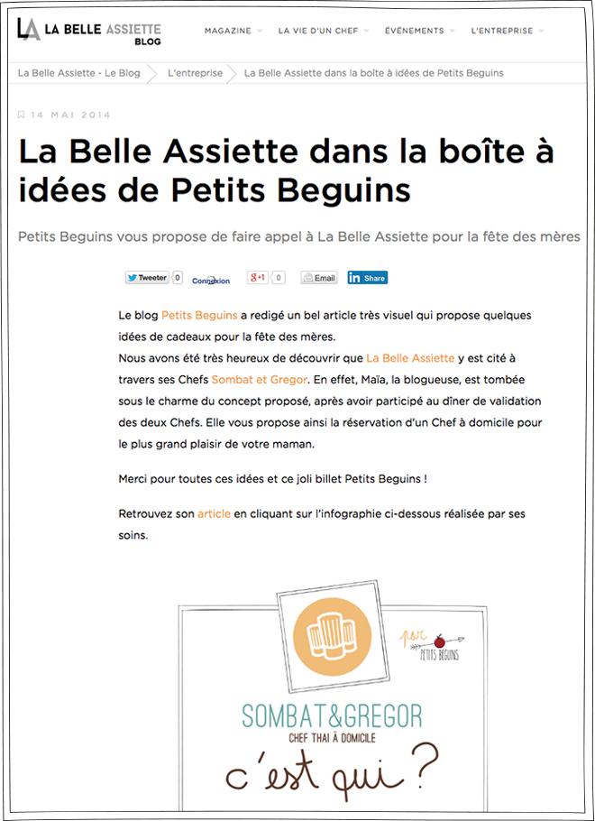 La Belle Assiette - Article - Petits Béguins