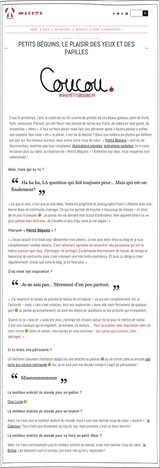 MMazette - Article - Petits Béguins
