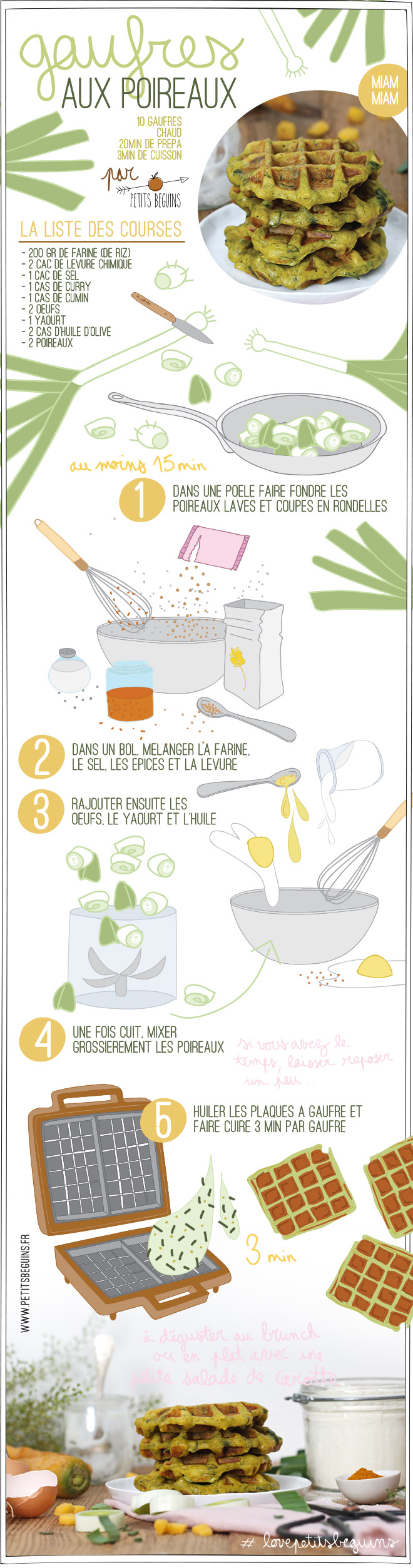 Gaufres aux poireaux - Recette veggie - Gourmandise - Petits Béguins