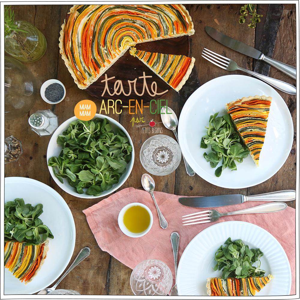 Tarte Arc-en-ciel courgettes, carottes - Recette veggie - Petits Béguins